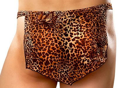 Leopard Print Thong With Loin Cloth - LingerieDiva