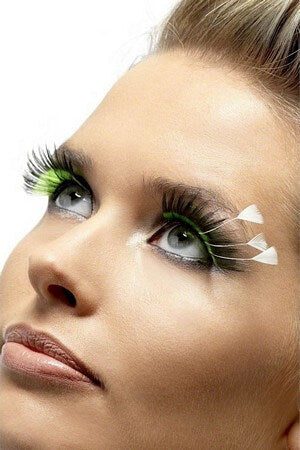 Black & Green Feather Plume Eyelashes