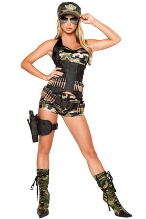 5 Pc Army Babe Costume