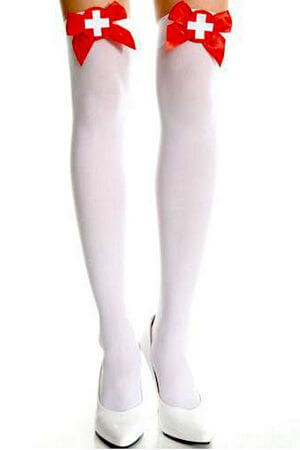 Opaque Cross & Bow Thigh High