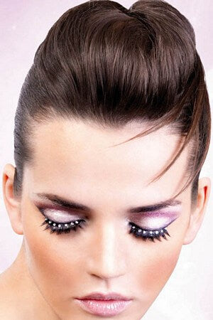 Black & White Eyelashes With Rhinestones