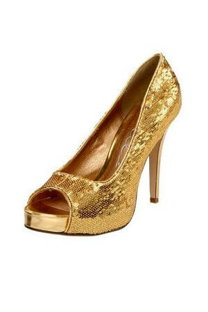 Gold Glitter Open Heel Pumps