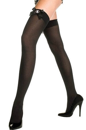 Black Opaque Cameo Thigh High