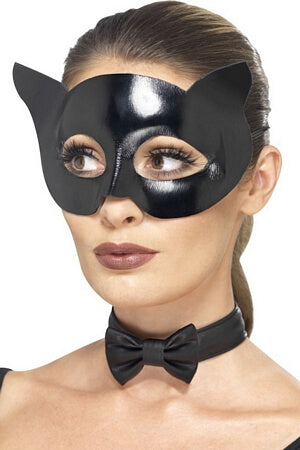 Wet Look Cat Mask & Collar