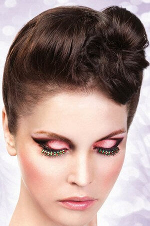 Black Red & Green Eyelashes Rhinestones