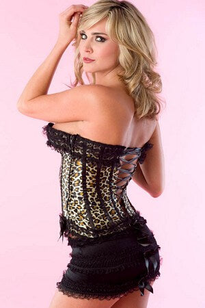 Leopard Ruffle & Bow Corset & Skirt Set