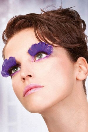 Purple Feather Eyelashes