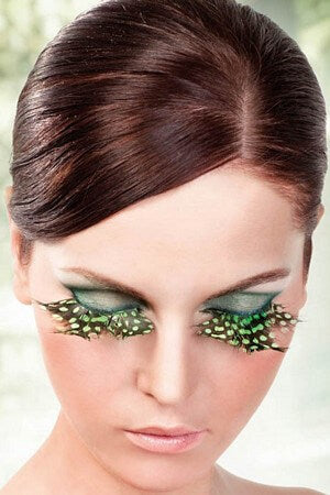 Light Green & Black Feather Eyelashes