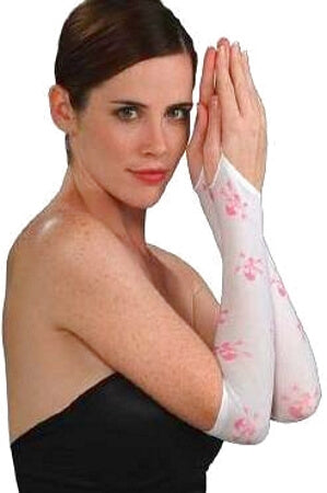 Pink and White Skull and Crossbones Arm Warmers
