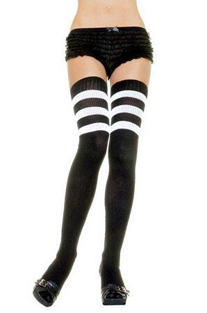 Black/White Athletic Ribbed Thigh Highs