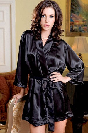 Black Satin 3/4 Sleeve Robe