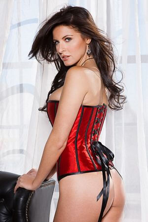 Satin Zipped Cherry Corset