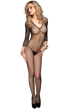 Long Sleeved Black Fishnet Bodystocking