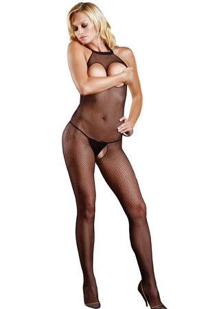 Black Cupless Open Crotch Halter Bodystocking