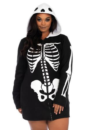 Plus Cozy Skeleton Costume