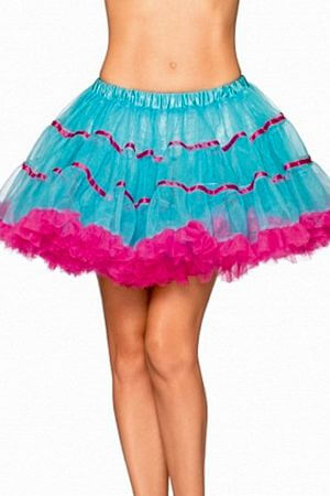 Turquoise and Pink Layered Striped Petticoat