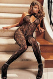 Swirl Lace, Halter Body Stocking Open Front - LingerieDiva