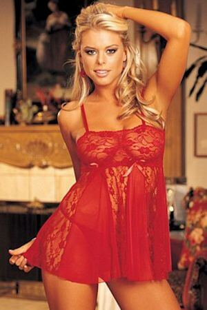 Red Stretch Lace & Sheer Net Babydoll - LingerieDiva