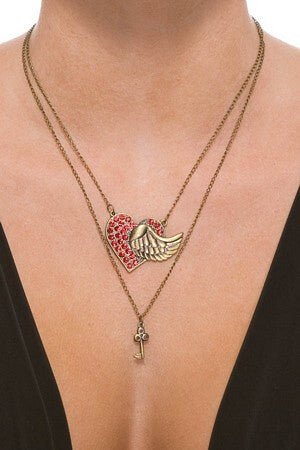 Winged Heart & Key Necklace