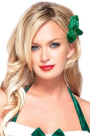 Green Hair Bows with Glitter