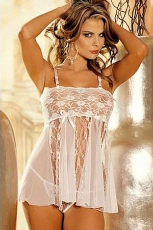 White Stretch Lace & Sheer Net Babydoll - LingerieDiva