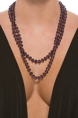 Purple Faux Crystal Beaded Necklace