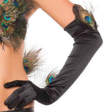 Black Peacock Gloves - LingerieDiva