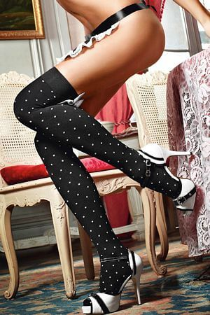 Dotted Satin Thigh Hi