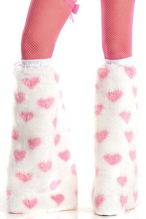 Pink & White Fuzzy Heart Boot Covers