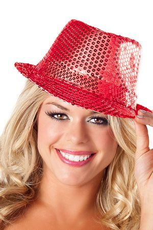 6f51a8235ed Red Sequin Fedora Hat with Free Shipping and Low Prices. – LingerieDiva