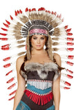 Native American Headdress With Red Tips - LingerieDiva