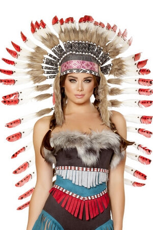 Native American Headdress With Red Tips