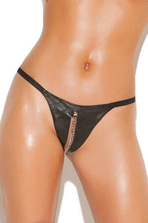 Sexy Leather Peek-A-Boo G-String