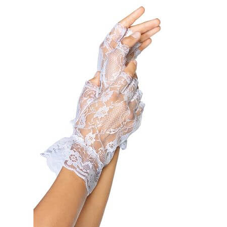 White Fingerless Lace Ruffle Gloves
