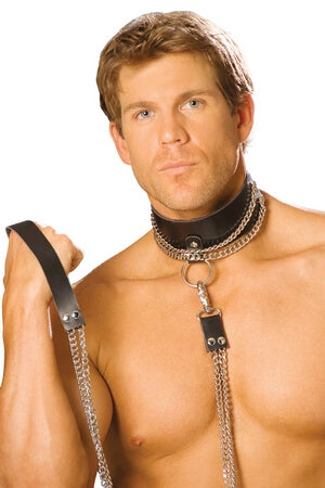 Leather Choker W/Chain & Leash