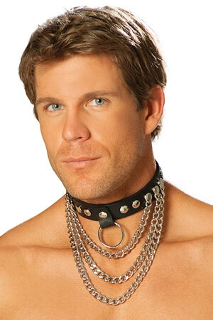 Erotic Leather & Chain Collar