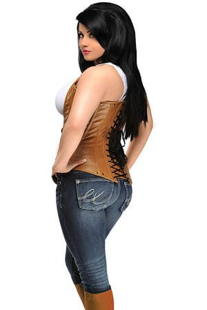 Distressed Faux Leather Corset