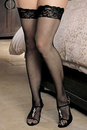 Fishnet, Back Seam, Lace, Stay-Up Queen Thigh High
