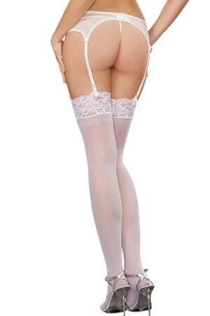 White Sheer Lace Top Thigh High
