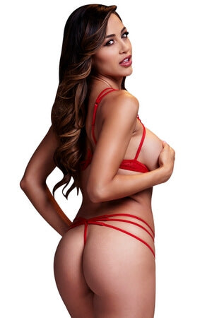 Red Strip It Down Bra Set