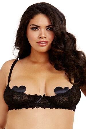 Queen Black Lace Shelf Bra