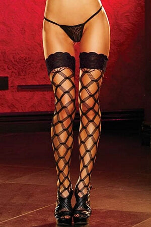 Cubic Lace Fishnet Thigh Highs