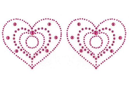 Pink Crystal Heart Pasties