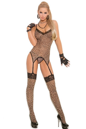 3 Piece Leopard Print Camisette G-String & Stocking
