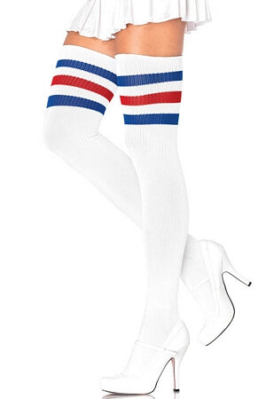 d48191395 White Blue Red Athletic Ribbed Thigh Highs