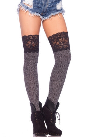 Ribbed Knit Knee Slouch Socks