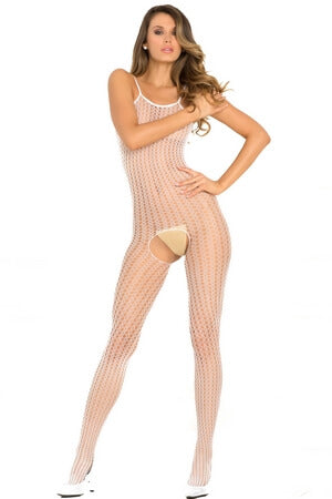 White Crotchless Quarter Crochet Net Bodystocking