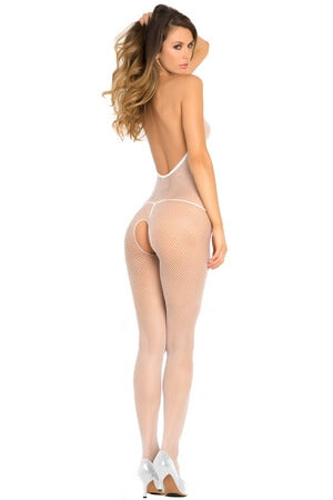 White Lovestruck Crotchless Bodystocking