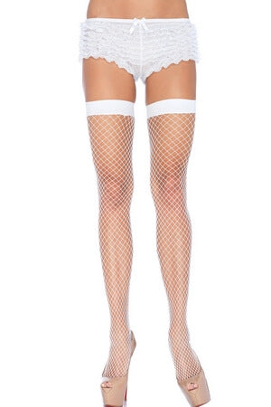 White Industrial Net Thigh Highs