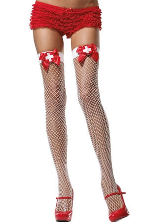 Net Thigh High with Bow and Nurse Badge